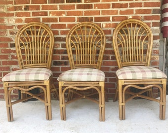 Boho Modern Bamboo Dining Chairs- Set of Four