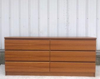Danish Modern Six Drawer Teak Dresser