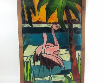 Tropical Flamingo Stained Glass Art