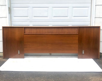 Mid-Century King Size Walnut & Cane Headboard