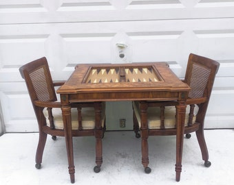 Vintage Burl Game Table w Chairs