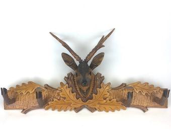 Rustic Vintage Deer Head Wall Hooks or Coat Hanger