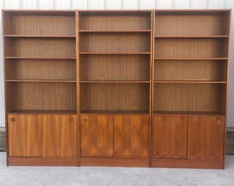 Vintage Modern Teak Bookcase or Wall Unit- 3 Pc