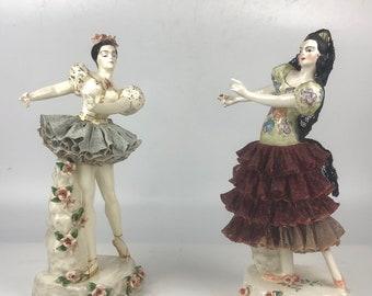 Pair Vintage Porcelain Dancer Figurines