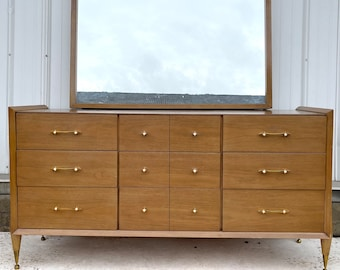 "Mid-Century ""Auburn"" Dresser With Mirror by Kent Coffey"