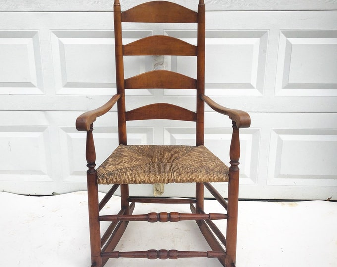 Antique Farmhouse Rocking Chair with Rush Seat