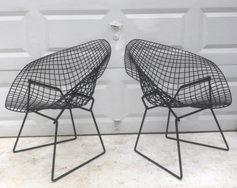 Pair Vintage Knoll Style Wire Patio Chairs