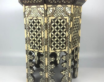 Vintage Moroccan Inlay Side Table