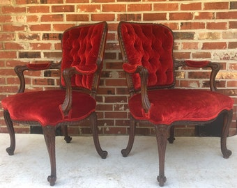 Antique Carved Wood Fauteuil Chairs - a Pair