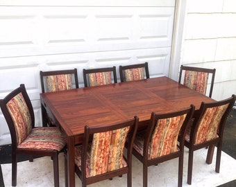 Scandinavian Modern Rosewood Dining Room Set w/ 8 Chairs
