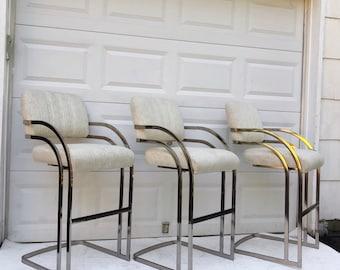 Vintage Modern Barstools after Milo Baughman
