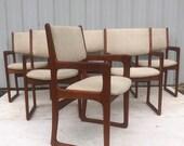 Mid-Century Teak Dining Chairs- Set of Six