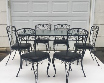 Vintage Iron and Glass Patio Set after Salterini