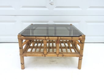 Vintage Bamboo and Rattan Lamp Table