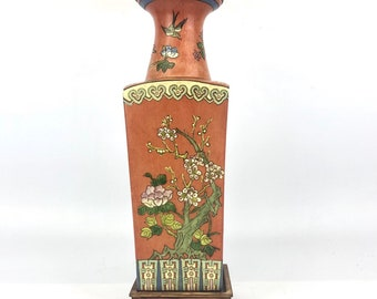 Vintage Cherry Blossom Porcelain Table Lamp
