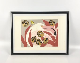 Flamingo in the Tulips, Artist Print by Ann T. Cooper