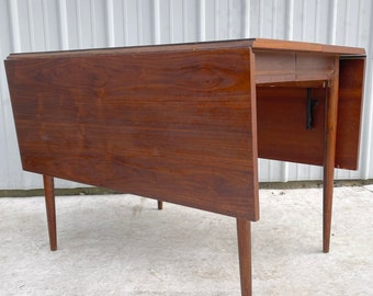 Mid-Century Drop Leaf Walnut Dining Table