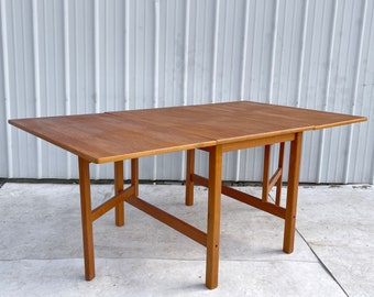 Scandinavian Modern Teak Drop Leaf Dining Table