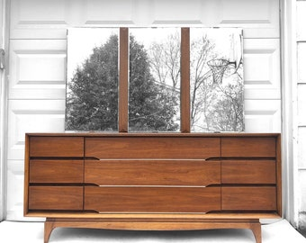 Mid-Century Bedroom Nine Drawer Dresser by Kent Coffey