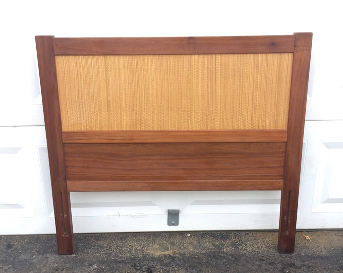Vintage Twin Size Headboard, Cane Front Bed