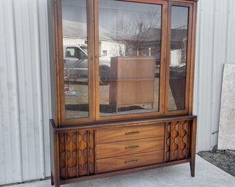 Mid-Century Breakfront Sideboard With China Cabinet