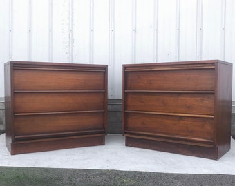 Pair Mid-Century Three Drawer Dressers by Lane