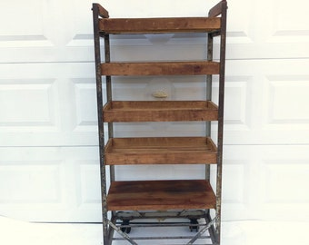 Vintage Industrial Baker's Rack Storage Shelf
