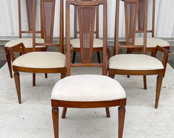 Mid-Century Highback Dining Chairs- Set of Six