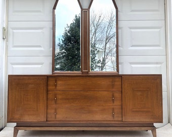 Mid-Century Modern Dresser with Mirror by American of Martinsville