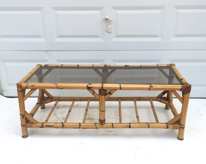 Vintage Bamboo & Rattan Coffee Table