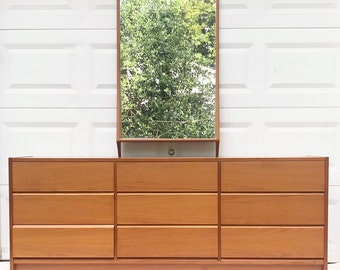 Scandinavian Modern Teak Dresser with Mirror