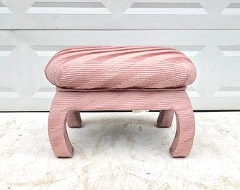 Vintage Modern Pink Pouf Ottoman or Stool