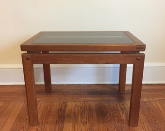 Mid-Century Modern Teak and Smoked Glass End Table