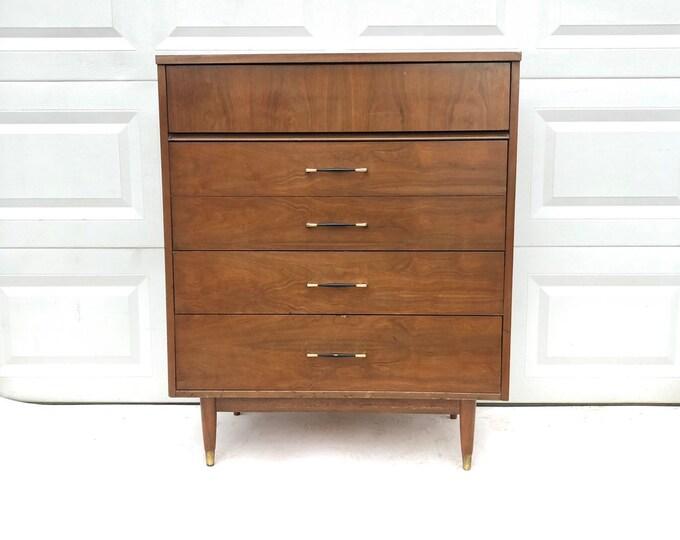 Mid-Century Modern Five Drawer Highboy Dresser