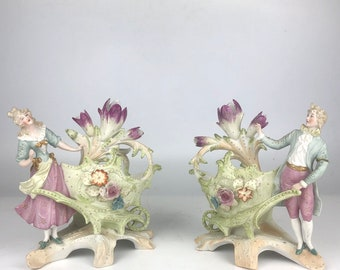 19th Century Rococo Style Figural Porcelain Table Planters