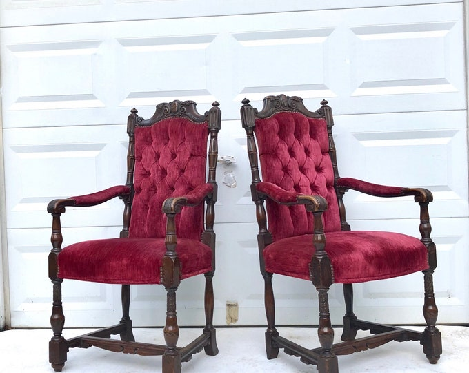 Vintage Gothic Throne Chairs in Red Velvet