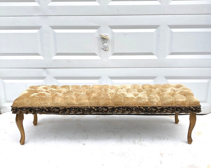 Long Tufted Window Bench With Queen Anne Legs
