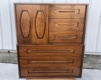 Mid-Century Modern Highboy Dresser With Sliding Front Door