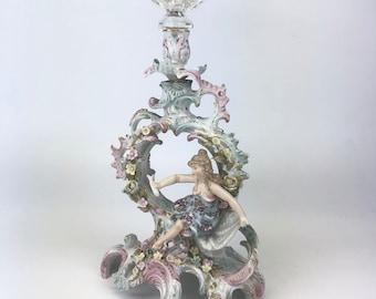 Antique Porcelain Candlestick Holder