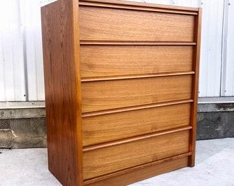 Danish Modern Teak Highboy Dresser by Feldballes Moblefabrik