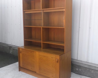 Vintage Teak Bookshelf With Cabinet Storage
