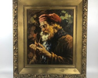 Vintage Oil Painting by Alberto Cecconi in Giltwood Frame