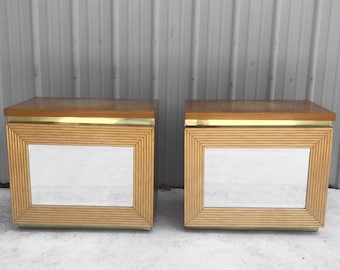 Pair of Vintage Modern Bamboo Front Nightstands