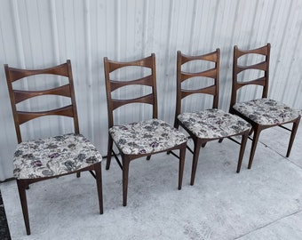 Mid-Century Modern High Back Dining Chairs- Set of Four