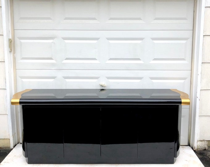 Modern Black Lacquer Sideboard