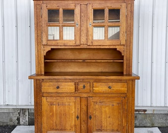 Antique Country Cupboard With Hutch Top