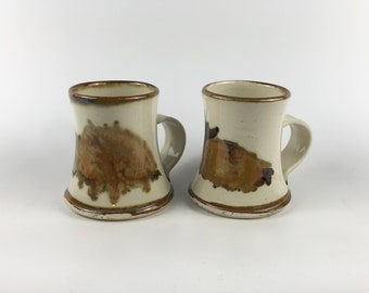 Pair of Mid Century Hand Made Ceramic Mugs / Boho Pottery Bohemian Coffee Cup