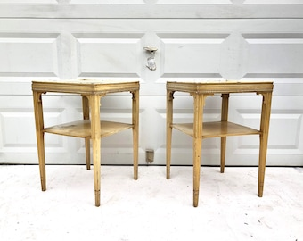Pair Tall Rustic Farmhouse End Tables