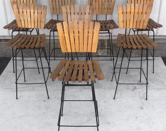 Vintage Wood Slat Bar Stools- Set of Four
