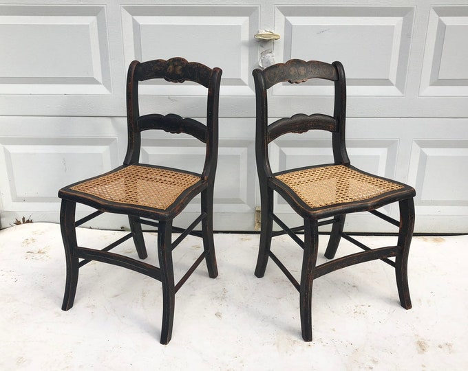 Pair Rustic Farmhouse Dining Chairs with Cane Seats